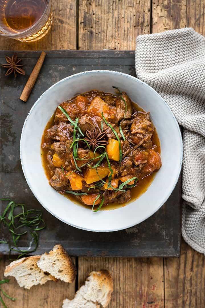 Bowl of Vietnamese beef stew , overhead view
