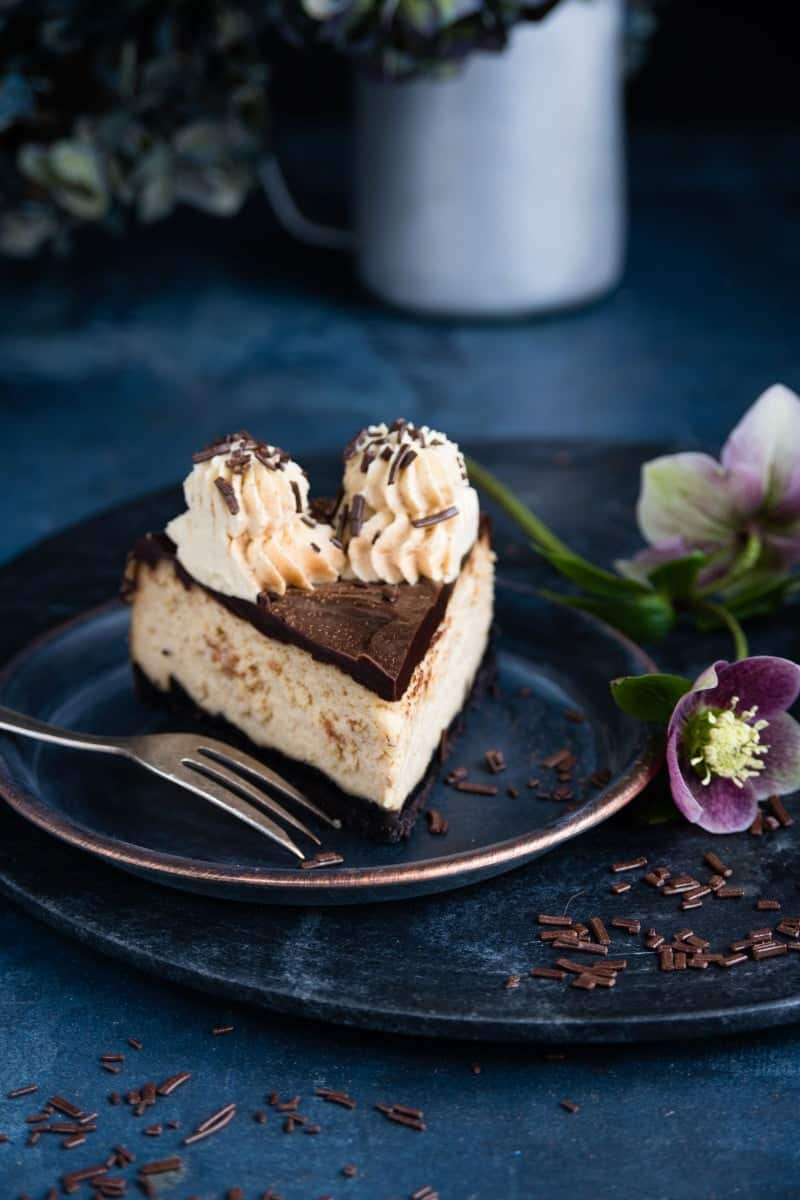 Slice of peanut butter and caramel cheesecake