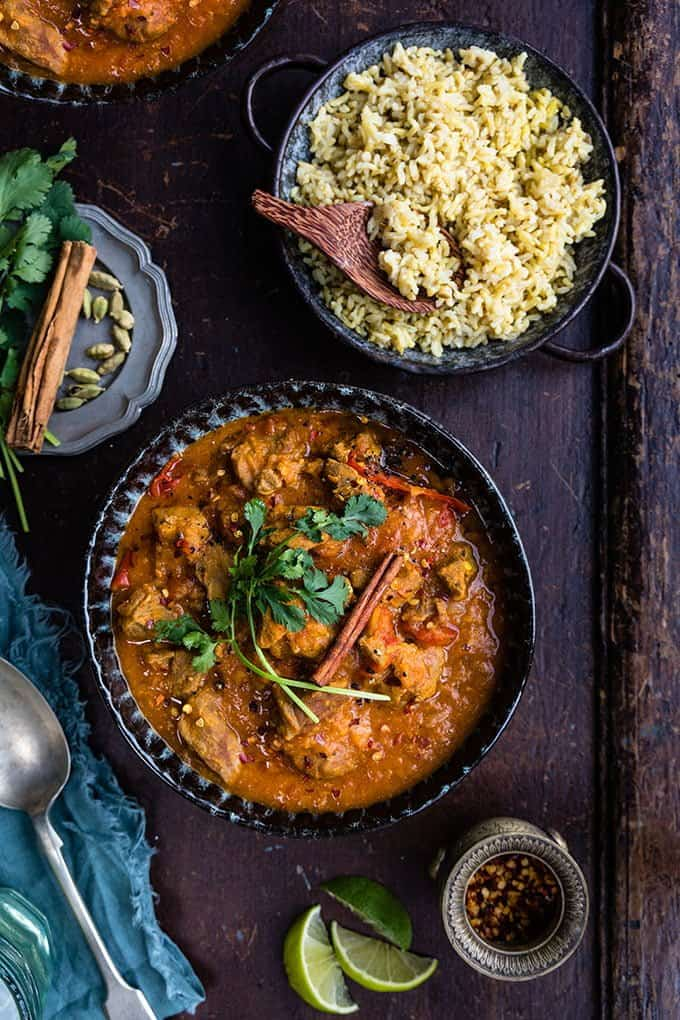 Lamb Dhansak curry served with pilau rice