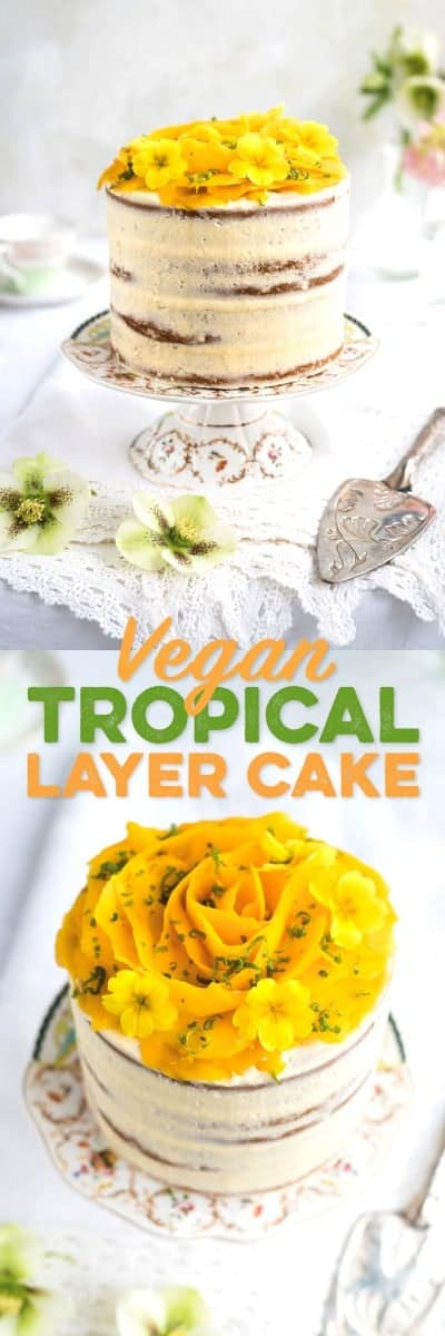 Vegan tropical celebration cake