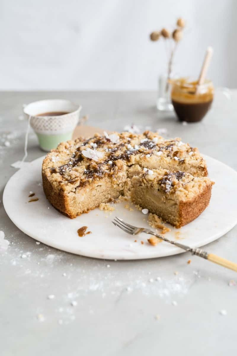 Apple coffee cake with toffee sauce, sliced