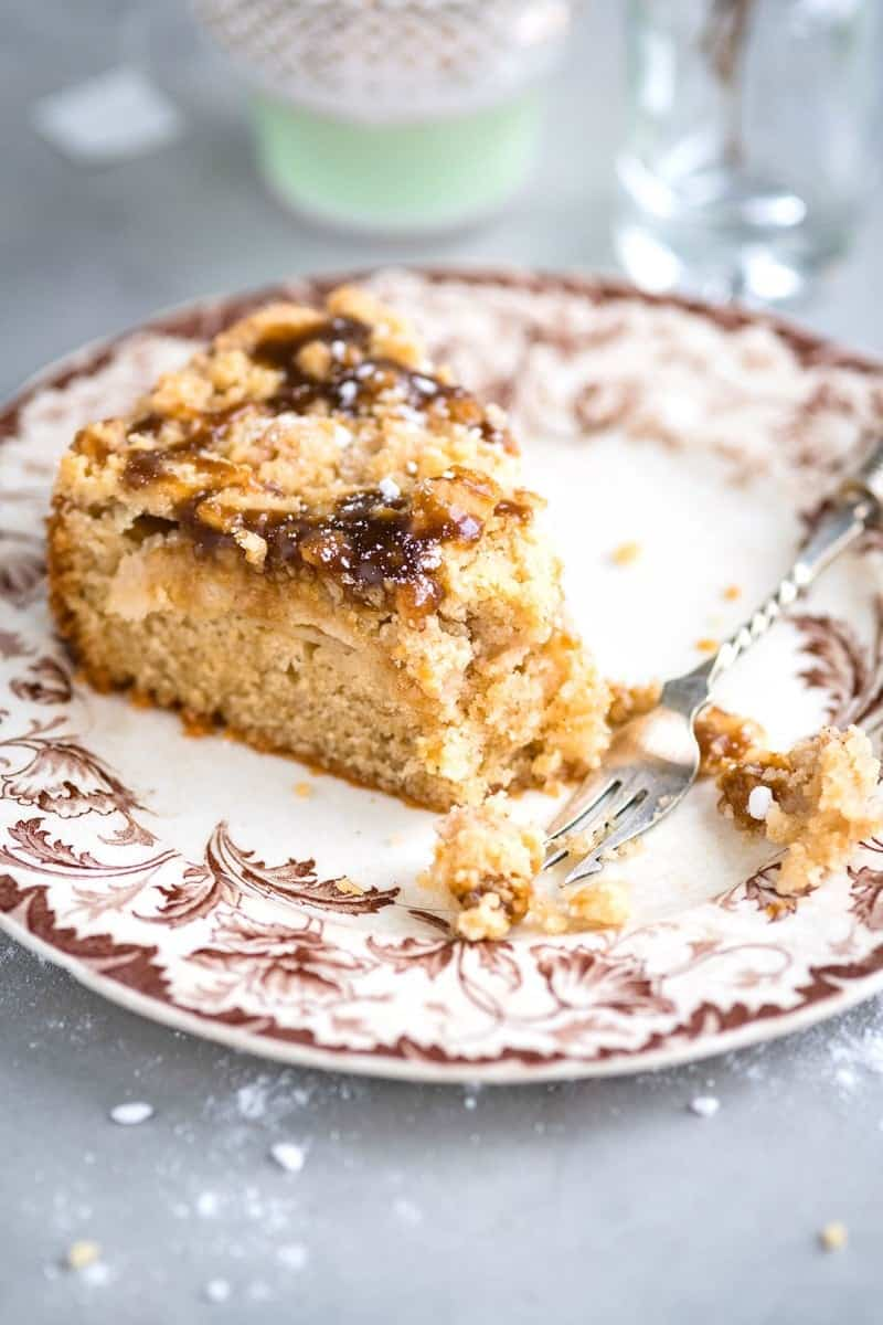slice of apple coffee cake with streusel topping