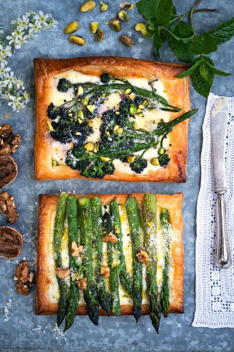 Asparagus and broccoli puff pastry tarts
