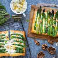 Cheese and asparagus puff pastry tarts