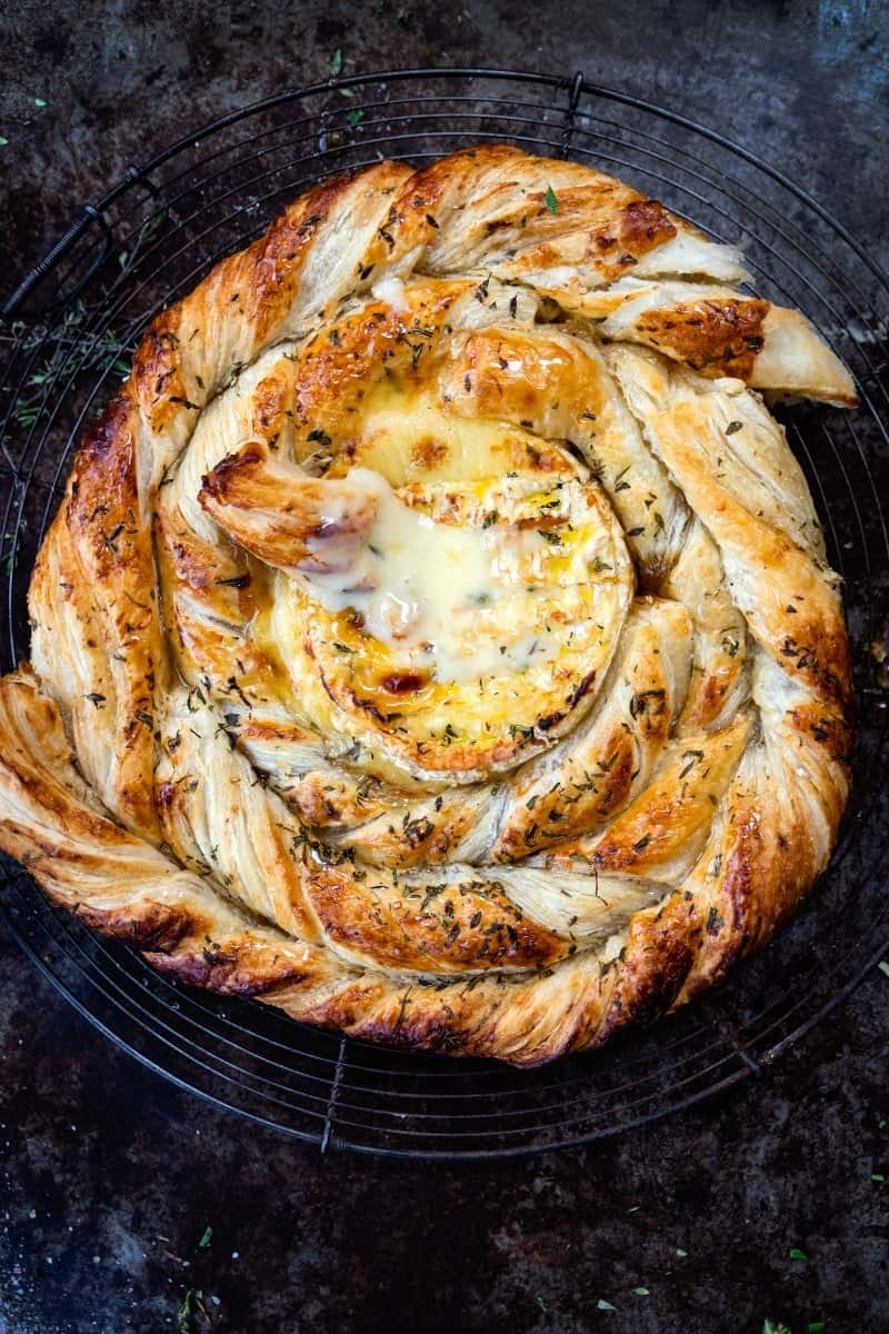 Close up on baked camembert with puff pastry