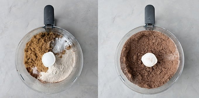 Making the chocolate cake in a food processor