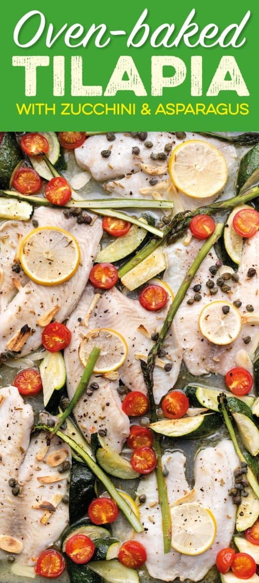 oven-baked tilapia with zucchini and asparagus on a sheet pan