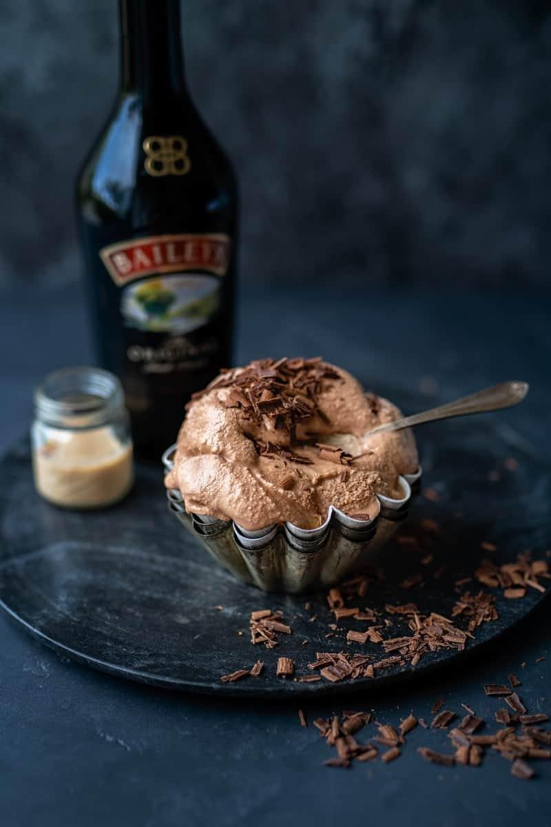 Bowl of Baileys chocolate ice cream