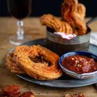 Savoury churros with tomato dipping sauce