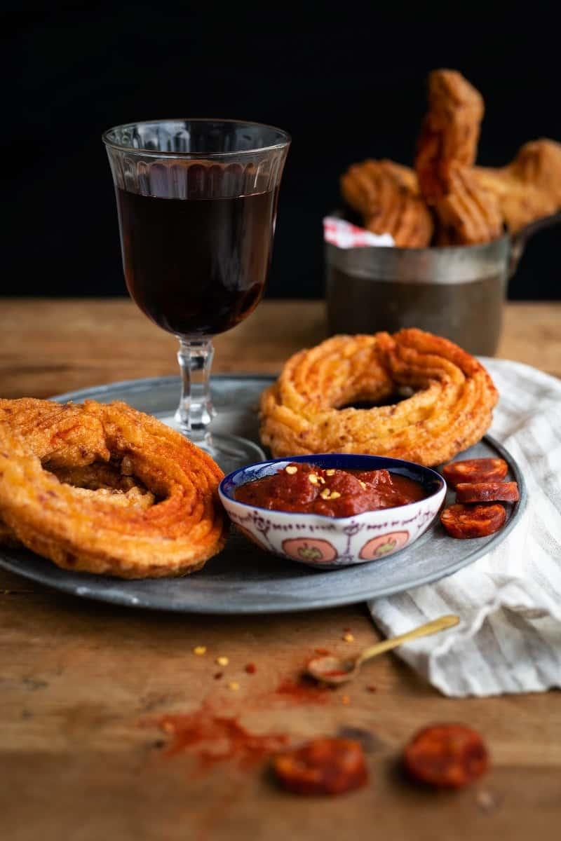 Chorizo churros serves as tapas with Rioja Gran Reserva wine