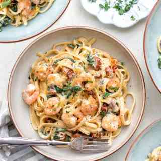 Bowl of Tuscan shrimp linguine