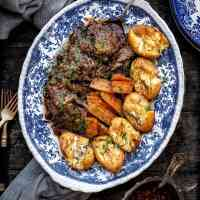 Pressure cooker balsamic beef brisket with smashed potatoes and carrots