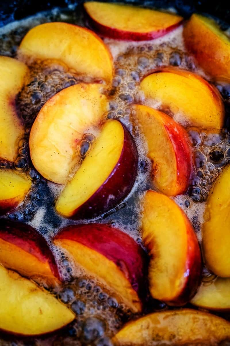 Caramelising peaches in a skillet