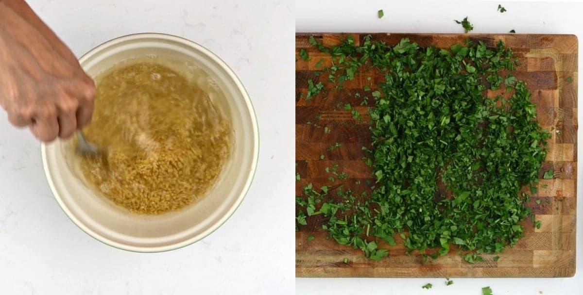 Preparing bulgur wheat and chopping parsley