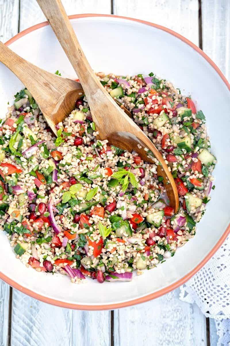 Large bowl of tabbouleh salad