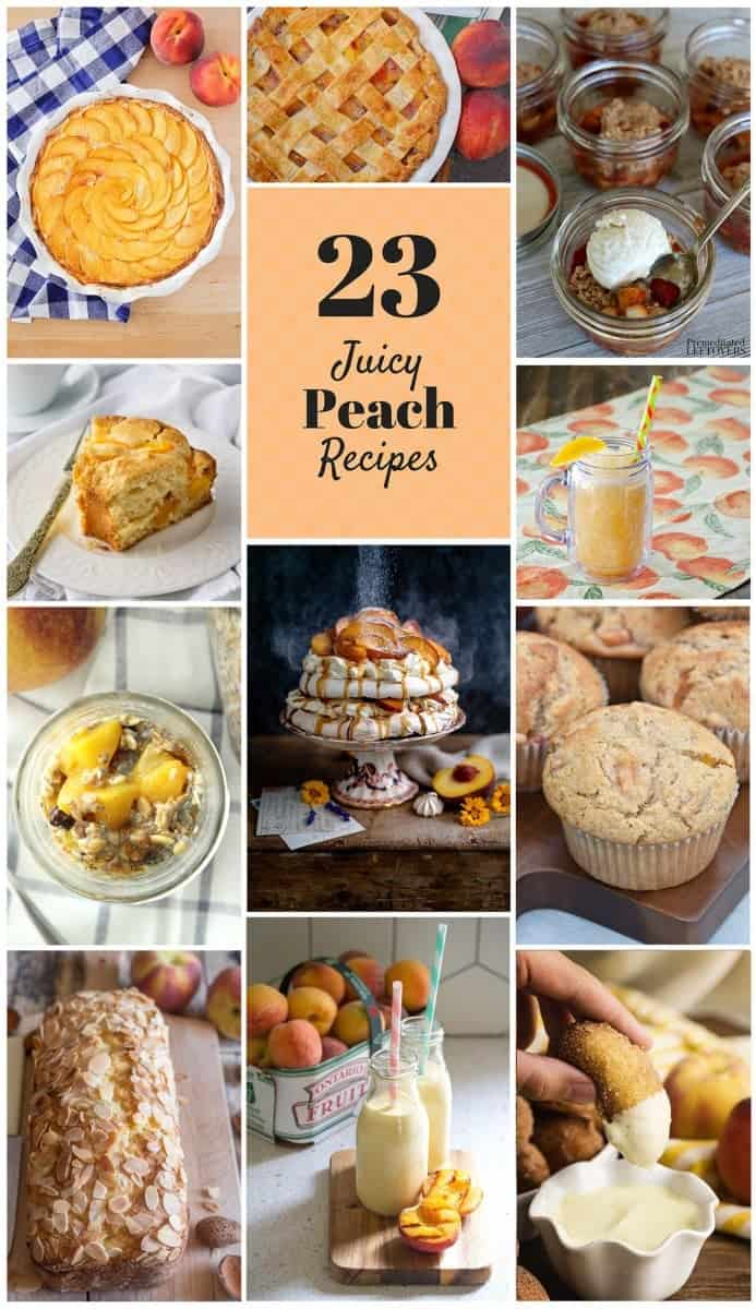 Round up of peach recipes collage