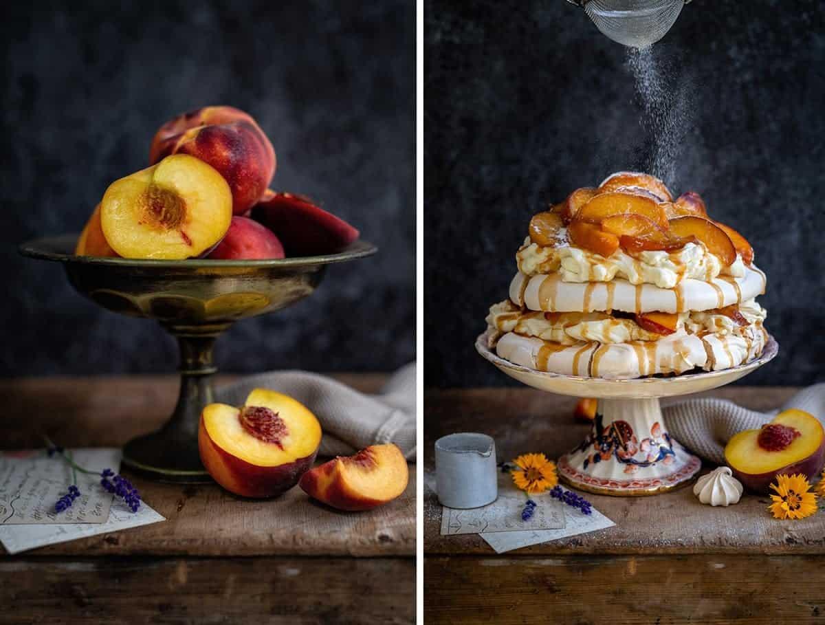 Peach pavlova and peaches still life