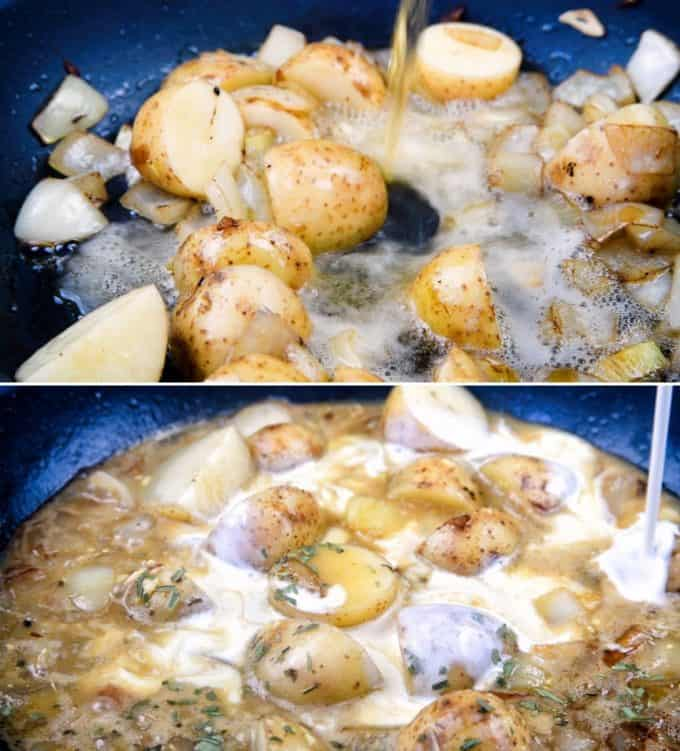 Close up of potatoes in a pan with cider and cream added