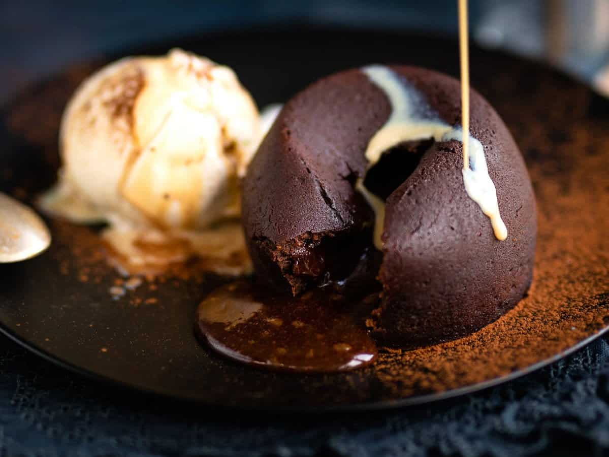 Chocolate lava cakes served with vanilla ice cream