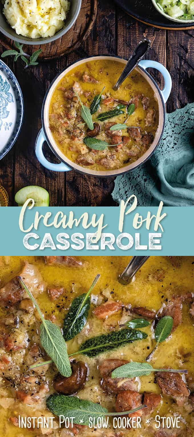 creamy pork casserole with cider and apples