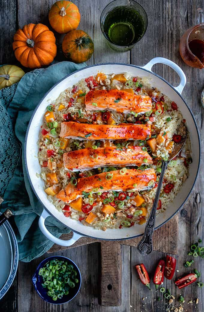 Coconut brown rice and salmon in a skillet