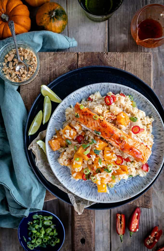Coconut brown rice with salmon