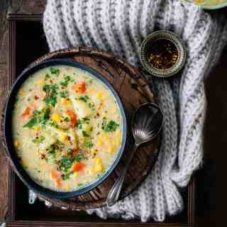 Bowl of vegan corn chowder