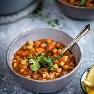 Morrocan harira soup in a small bowl