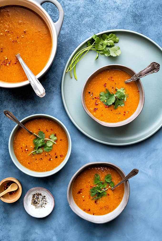 Dump and start Instant Pot red lentil soup { vegan }