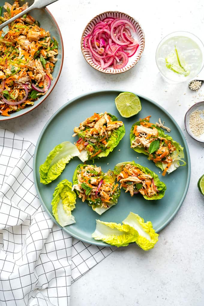 Healthy satay chicken salad with pickled onions served in lettuce leaves as an appetiser