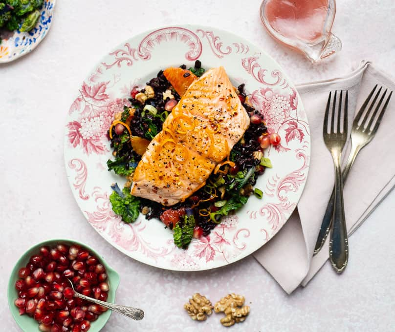 salmon fillets with black rice salad