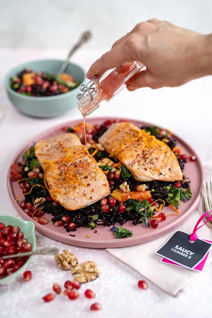 Black rice salad with salmon