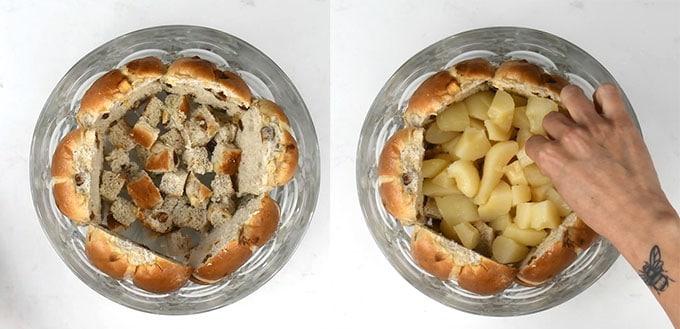 Assembling hot cross bun trifle