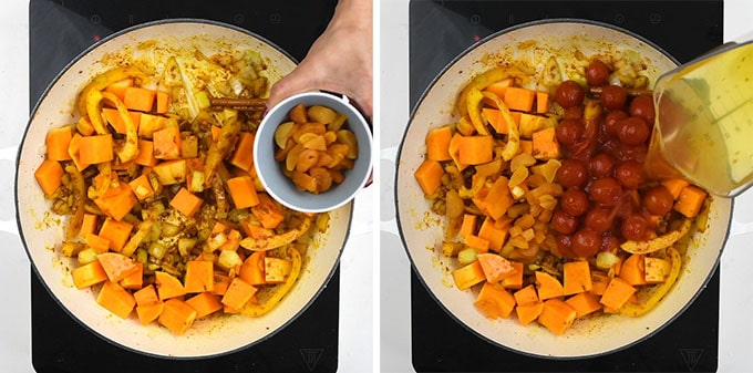 Squash, apricots, tomatoes and stock being added to a pan for Moroccan chicken