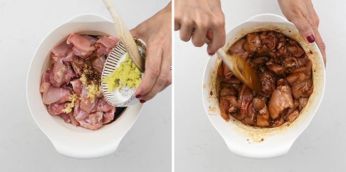 Marinating chicken for Japanese Chicken Karaage collage