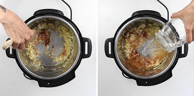 Making arrabbiata sauce in an Instant Pot collage