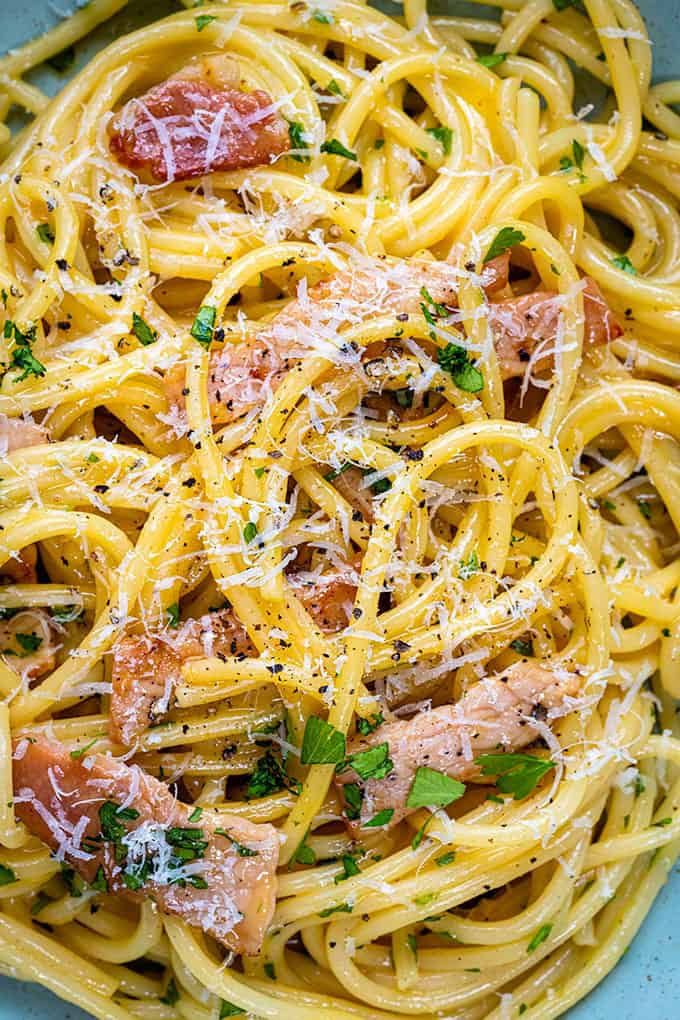 Extreme close up of Spaghetti alla Carbonara