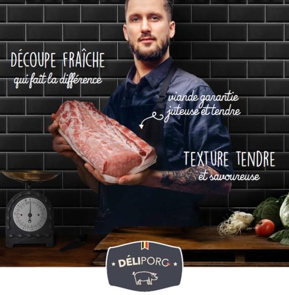 Visuals Deliporc A4 slager FR - Demi porc DéliPorc (+- 40Kg)