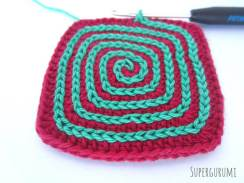 Square Crochet Coaster Slip Stitch Spiral Step 12