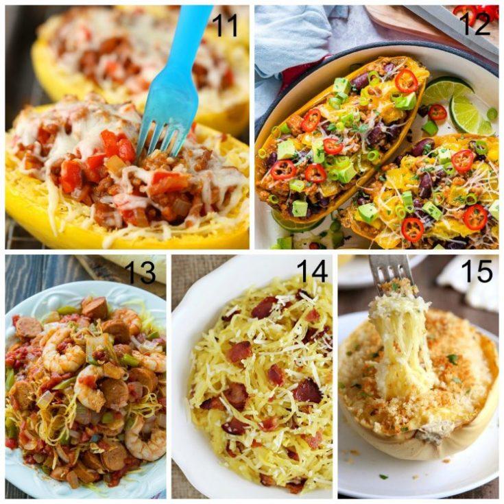 21 Best Spaghetti Squash Recipes. Five different recipes collage.