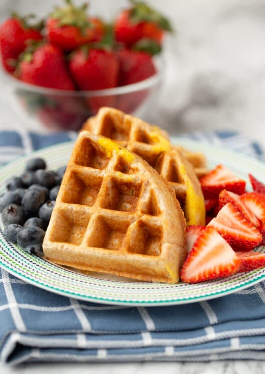 high protein waffle with berries