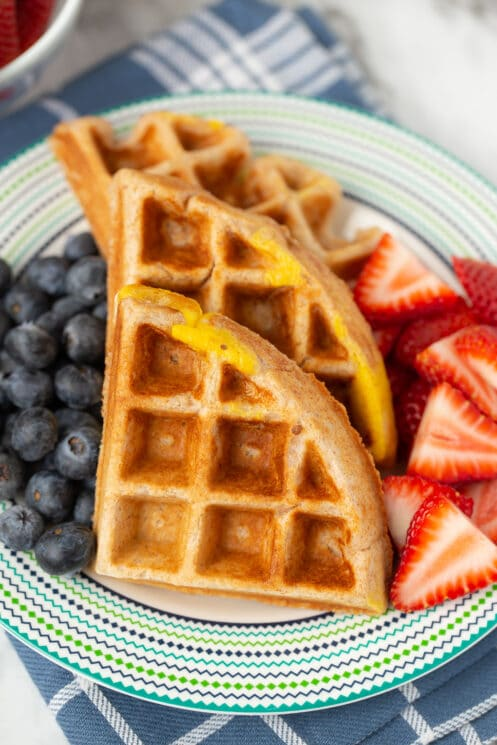 protein egg waffle with berries