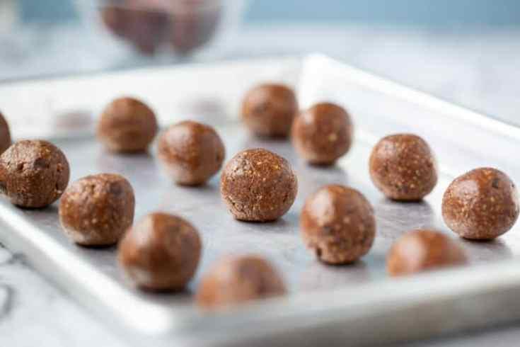 energy balls on cookie sheet