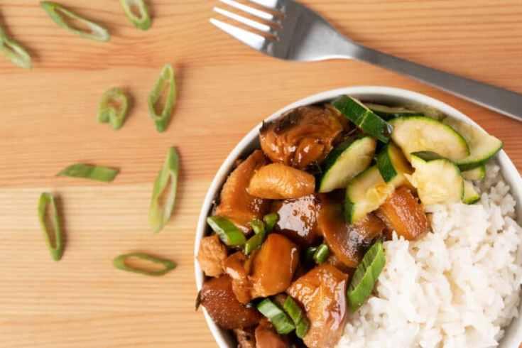 chicken teriyaki with veggies and white rice