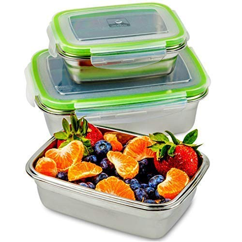 stainless steel lunchbox filled with fruit