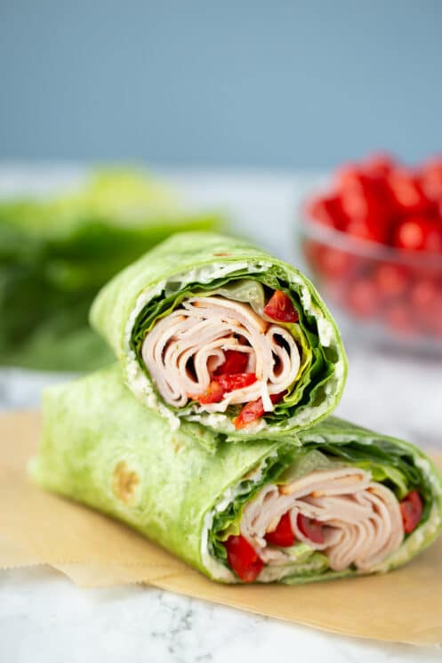 turkey ranch wrap with lettuce and tomato