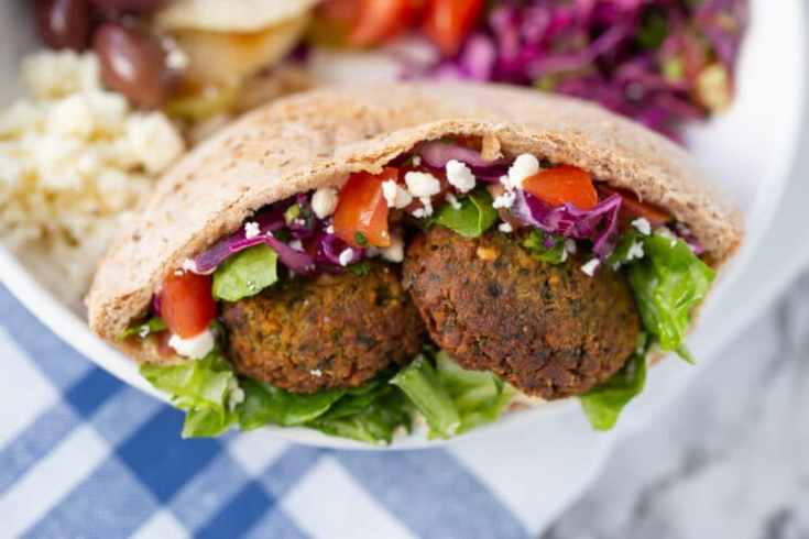crispy falafel and fresh tomatoes and lettuce in pocket