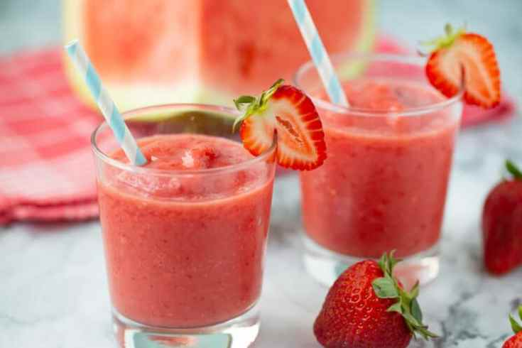 cold glasses of watermelon smoothie
