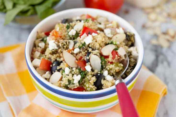 freshly made quinoa with mixed vegetables