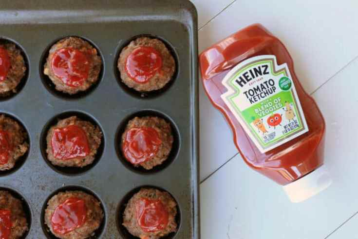 muffin tin meatloaf with ketchup on top